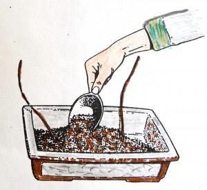 1 Grof materiaal onderin de pot