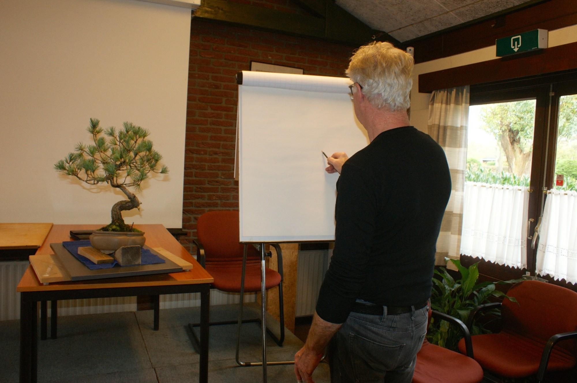 Gerrit aan het tekenen
